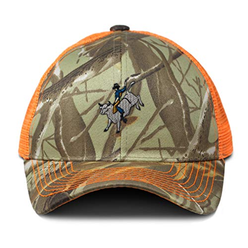 Camo Mesh Trucker Hat Bull Rider Embroidery Cotton Neon Hunting Baseball Cap Strap Closure One Size Orange Camo Design Only