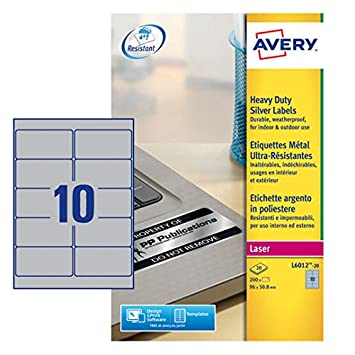 33a7b4328e8b Avery L6012-20 Heavy Duty Weatherproof Labels (A4 Sheets of 96 x 50.8 mm,  10 Labels per Sheet, 20 Sheets) - Silver