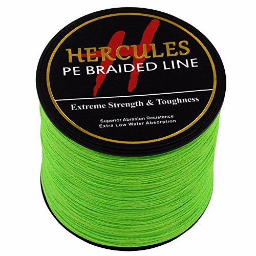 300m 328yds Fluorescent Green 6lbs-100lbs Hercules Pe Dyneema Braided Fishing Line 4 Strands (30lb/13.6kg 0.28mm) (Memory Bay Cover)