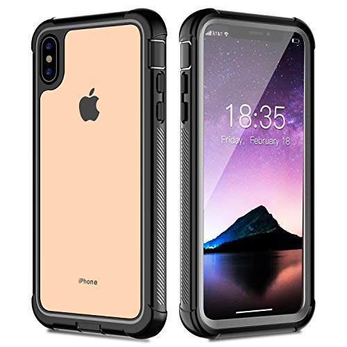 iPhone Xs Max Case, Full-Body Rugged Thin Clear Bumper Case with Built-in Screen Protector for iPhone Xs Max 6.5 Inch 2018 (Black-Clear)