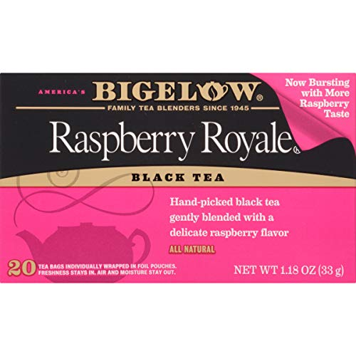 Raspberry Bags Tea - Bigelow Raspberry Royale Tea Bags 20-Count Boxes (Pack of 6) Caffeinated Individual Black Tea Bags, for Hot Tea or Iced Tea, Drink Plain or Sweetened with Honey or Sugar