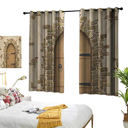 (Warm Family Black Curtains Rustic,Wine Cellar Entrance Stone Arch Ancient Architecture European Building,Sand Brown Pale Brown 84