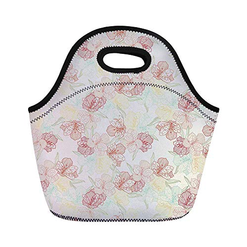 Floral Durable Lunch Bag,Vintage Orchid Arrangement Soft Colored Abstract Image Blossoming Nature Pattern for School Office,11.0