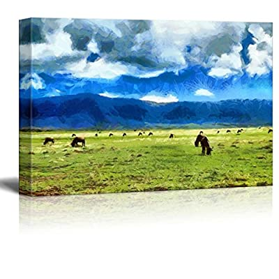 Canvas Prints Wall Art - Antelopes GNU Feeding on Meadow Among Mountains in Africa Illustration - 24