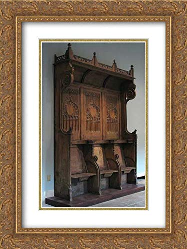 French Culture - 18x24 Gold Ornate Frame and Double Matted Museum Art Print - Triple Choir Stall with Canopy