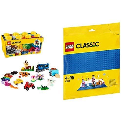 [해외] 레고 (LEGO) 클래식 라지 조립 박스 플러스 10696 & 클래식 기초 판(블루) 10714