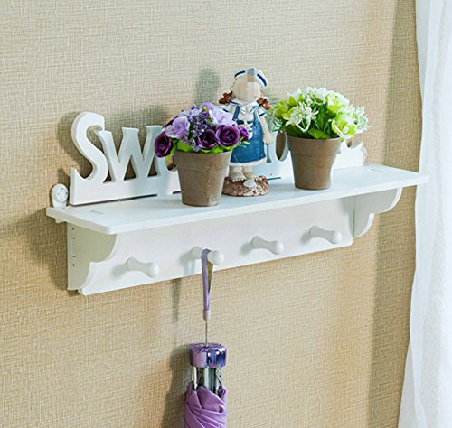 Peg White Coat Rack - Skyseen Wall Mounted Coat Rack and Hook Rack with 4 Pegs- Kitchen Bathroom Organizer Shelf- Storage Rack,Storage Holder(DIY)