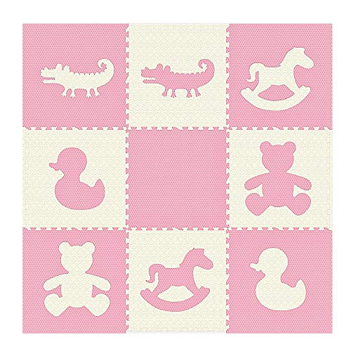 Weizzer Toys Extra Large Textured Jumbo Size 73 x 73 Puzzle Play Mat EVA Foam Non-Toxic Waterproof Interlocking Tiles Exercise Learn Modern Style – Pink White