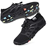 hiitave Water Shoes for Men/Women/Adults, Aqua Beach Pool Swim Shoes All Black W9/M8
