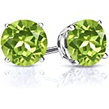 2.70 Ct Round 7mm Natural Green Peridot Gemstone Birthstone 925 Sterling Silver Stud Women's Earrings