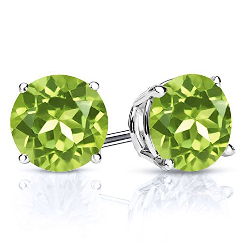 Gem Stone King 925 Sterling Silver Green Peridot Stud Women's Earrings Gemstone Birthstone 2.70 Ctw Round 7MM