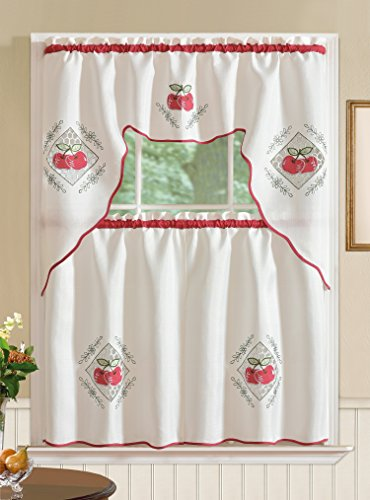 RT Designers Collection Imperial Red Jacquard Kitchen Curtain Set, Apple