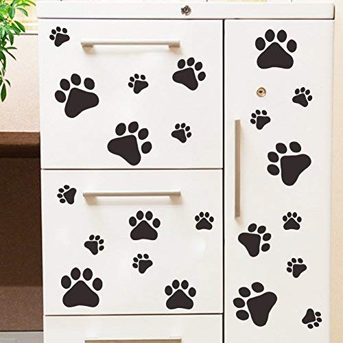 LtrottedJ Wall Sticker Walking Paw Prints Wall Decal Home Art Decor Dog Cat Food Dish Room Sticker]()