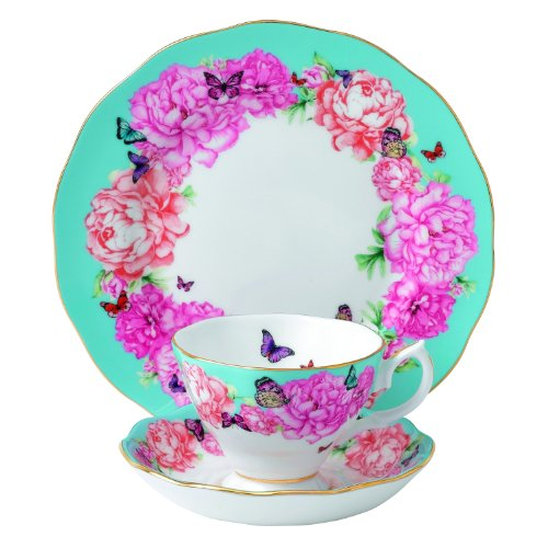 Royal Albert Devotion 3-Piece Teacup, Saucer and Plate Set Designed by Miranda Kerr (Peony Plate Accent)