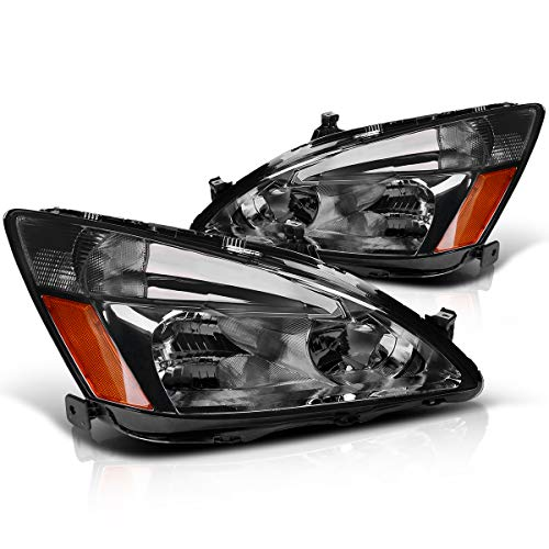 Headlight Assembly for 2003 2004 2005 2006 2007 Honda Accord OE Headlamp Replacement,Smoked Housing