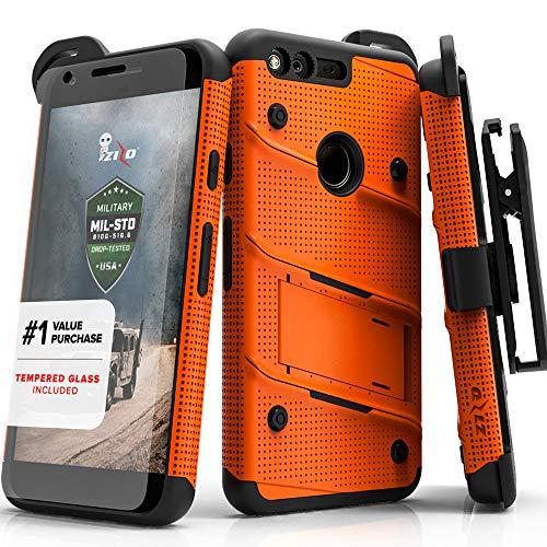 Orange Bolt - Zizo Bolt Series Compatible with Google Pixel XL w/ [Screen Protector] Kickstand [12 ft. Military Grade Drop Tested] Holster Clip (Orange/Black)