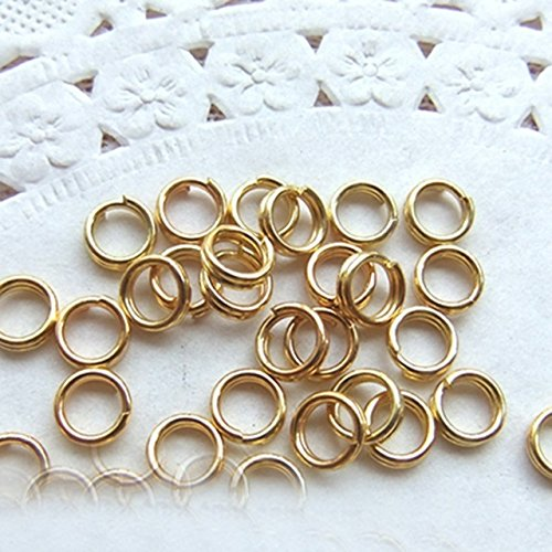 150 PCS Split Jump Rings Double Loops Jewelry Making Chin Links Earrings Necklace Clasp Findings Bracelets Connector Accessories (KC Gold, 6mm) - Double Loop Clasp
