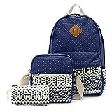 OURBAG Canvas Casual Lightweight Backpack Schoolbag Shoulder Bags Wallet for Women Girls 3PCS Set Navy Blue