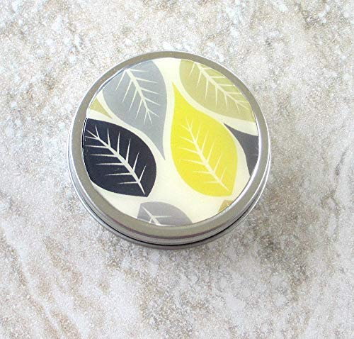 Black & Yellow Leaf design Decorative Tin, Screw top lid, 2oz capacity