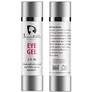 Natural & Organic Eye Gel - Best & Most Effective Anti Aging Under Eye & Face Moisturizing Retinol Cream To Reduce Puffiness, Wrinkles, Dark Circles, Bags, & Dry Skin (2 oz) - Incredible By Nature