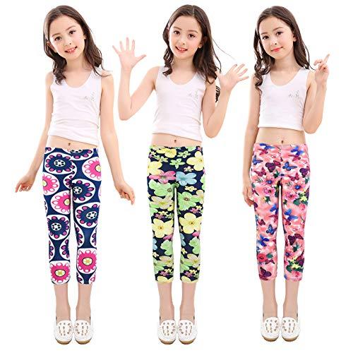 slaixiu 3-Pack Printing Flower Girl Leggings Kids Classic Pants 4-13Y(No.71_SCEQ_#160) ()