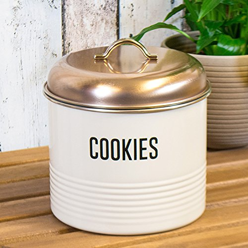 3 Litre Cream Enamel Biscuit Barrel with Copper Coloured Lid ProdBuy Limited
