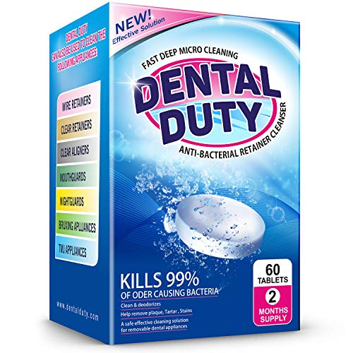 Dental Duty Retainer and Denture Cleaning Tablets -(2 Months Supply)- Cleaner Removes Bad Odor, Plaque, Stains from Dentures, Retainers, Night Guards, Mouth Guards & Dental Appliances. Made in USA.