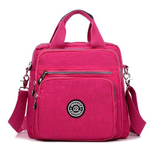 MeCooler Designer Messenger Bag Umhängetasche Damen Handtasche Mode Kuriertasche Leichter Rucksack Lässige Schultertasche Wasserdicht Taschen Rot 2