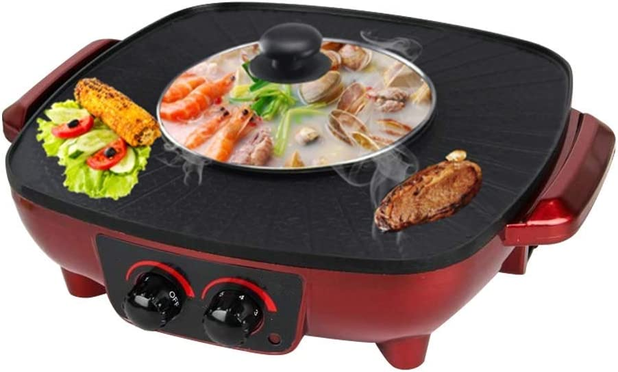 Atten BBQ Barbecue and Hot Pot, Electric Grill 2 in 1, Electric Hot Pot Baking Dish, Integrated Saucepan, Teppanyaki Electric Grill (Color : Red)