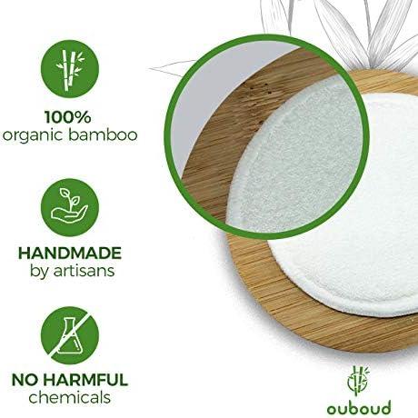 Ouboud Boite en bambou et filet inclus 16 disques d/émaquillants en fibre de bambou pour une peau propre et saine