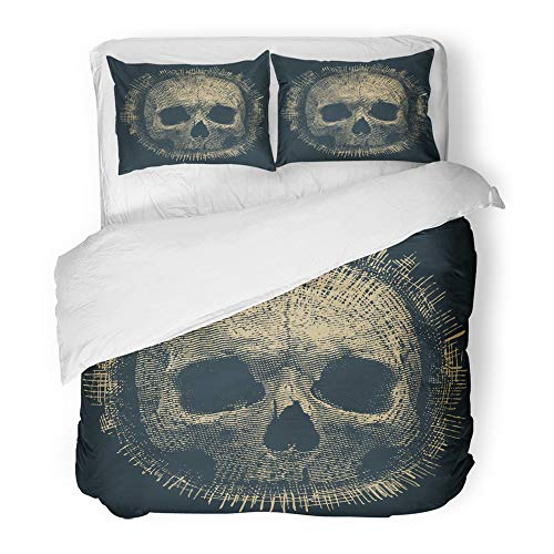 Emvency Decor Duvet Cover Set King Size Cool Skull and Hard Metal Rock Halloween 3 Piece Brushed Microfiber Fabric Print Bedding Set Cover ()