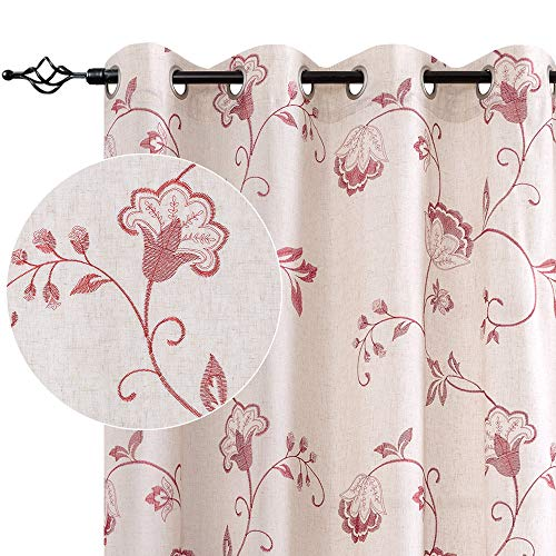 jinchan Linen Textured Curtains for Living Room Long Embroidered Design Window Curtains Privacy Flax Linen Look Window Treatment Set for Bedroom Grommet Top 2 Panels 84