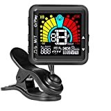 JULIET MUSIC Guitar Tuner & Metronome for Guitar, Violin, Ukulele, Bass, Banjo, Mandolin, Chromatic Tuning. USB Rechargeable, Large Colorful LCD Display, Calibrated Pitch 3 in 1