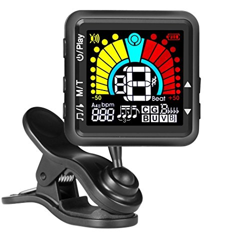 Bass Metronome - JULIET MUSIC Guitar Tuner & Metronome for Guitar, Violin, Ukulele, Bass, Banjo, Mandolin, Chromatic Tuning. USB Rechargeable, Large Colorful LCD Display, Calibrated Pitch 3 in 1