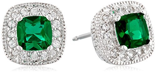 Sterling Silver Created Emerald and Created White Sapphire Halo Cushion Stud Earrings