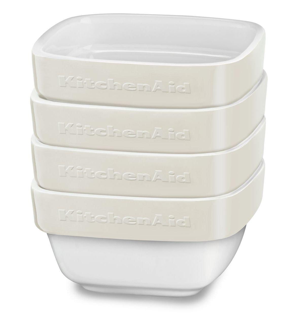 Almond Cream KitchenAid KBLR04RMAC 4 Piece Ceramic Ramekin Bakeware Set