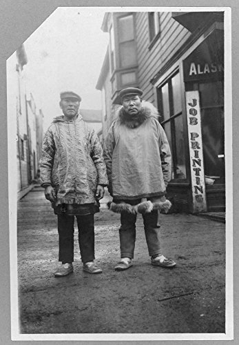 Eskimos outside shops, on a commercial street in Nome by Historic Photos