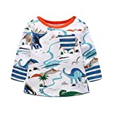 Ankola Clearance Children Kids Boys Girls Long Sleeve Cartoon Dinosaur Print Blouse Clothes (4T, Multicolor)