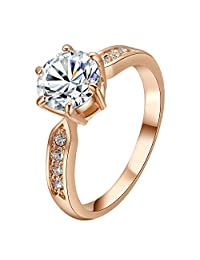 Yourfs Big Cubic Zirconia Engagement Rings for Women 18k Gold Plated Rhinestone Halo Jewelry Gifts