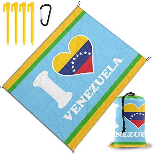 Flag Venezuela Love Heart - Gsooh-7 I Love Venezuela Flag Heart. Outdoor Picnic Blanket Waterproof Mat Tote for Camping Hiking Grass Beach Travelling BBQ Family
