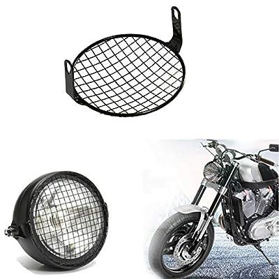 CICMOD Universal Motorcycle Cruiser Bobber 6.25 Inch Retro Grill Mesh Headlight Cover Black: Automotive