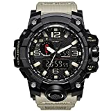 Bounabay Men's Military Digital Sport Watch Water Resistant Outdoor LED Back Light Display,Beige