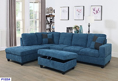 Beverly Fine Furniture SH122A F122A Left Facing Russes Sectional Sofa Set with Ottoman, Blue, Velve