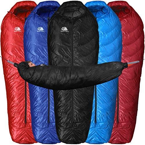 Hyke & Byke Down Sleeping Bag for Hammock Backpacking - 650 Fill Power 15 Degree F Bag for Hammock or Ground Camping and Backpacking - Light, Innovative Design (0 Degree - Black, Long) (Hammock Width)