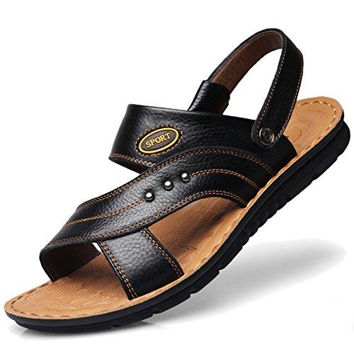 Los Leisure De De Cuero Tire Tamaño De Para Zapatos Más Real De Playa Black1 Zapatillas Hombres Sandalias Cuero Hombres Abiertos Las Nadan De Que De Verano HqXYUvXPw