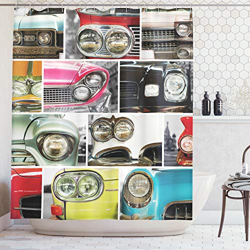 Ambesonne 1960s Decorations Collection, Classic Cars Retro Automobile Collage Bumper and Headlights Classics Old Style, Polyester Fabric Bathroom Shower Curtain, 84 Inches Extra Long, Pink Black Red