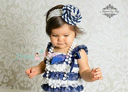 fb93026f691b Amazon.com  Girl s Flower Navy Stripe Blue Lace Dress set