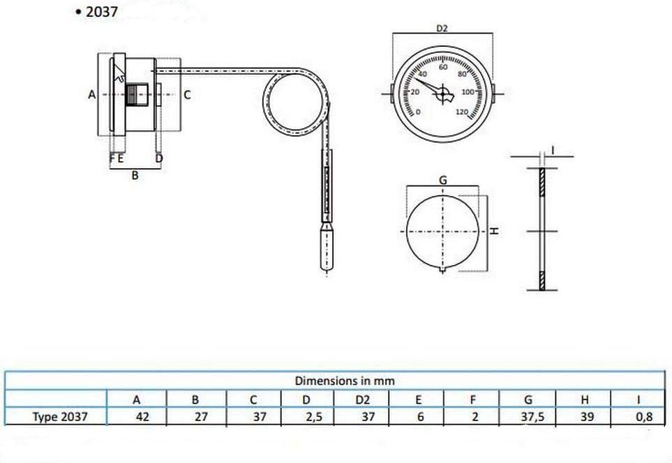 Thermis Rundes Kapillarthermometer Für Kessel Heizungs Und Kühlsysteme Verwendet Analog Ø37mm 0 120 C Kapillare 1000 Mm Typ 2037 Baumarkt