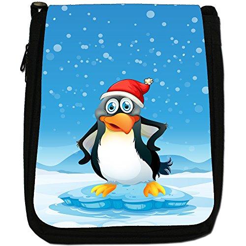 Shoulder Hat Joyful Cheery Snow Santa Size Bag Black Penguin Medium Canvas In Christmas Time 04nrRO0