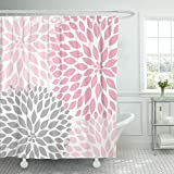 Pink and Gray Fabric Shower Curtain Accrocn Waterproof Shower Curtain Curtains Fabric Pale Pink Gray White Dahlias 36x72 Inches Decorative Bathroom Odorless Eco Friendly Anti Bacterial